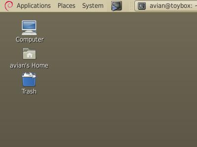 Debian branded GNOME menu