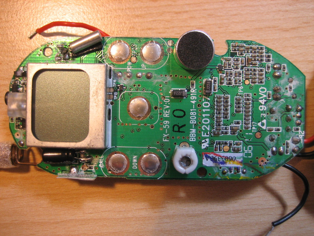 Circuit Board Attached To A Small Piezo Speaker And Powered By Two Aa