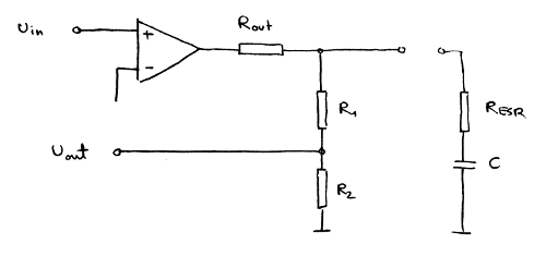 Schematic diagram of a voltage regulator.