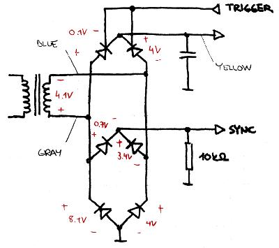 Thyristor regulator diagram, annotated