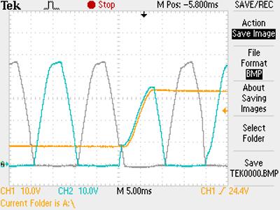 Thyristor regulator oscillogram
