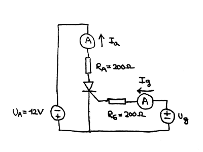 Measurement circuit for reverse anode currnt in SCR.