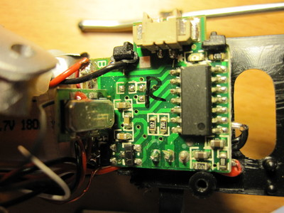 Circuit board inside micro RC helicopter