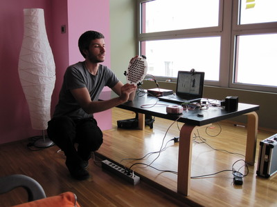 Miha Ciglar demonstrating a prototype tactile ultrasound interface