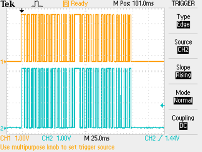 Demodulated RF transmission of a weather monitor.