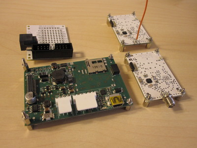 VESNA core board, two radio boards and a debug/prototyping expansion.