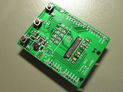 OLED Arduino shield with components soldered on.