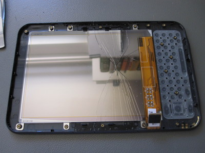 Cracked back screen panel on a Kindle 3