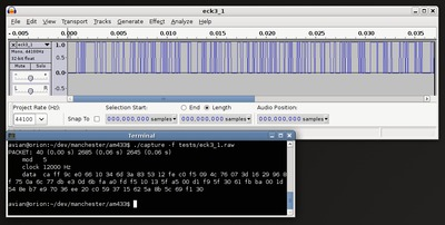 Screenshot of capture and Audacity