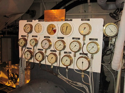 Random collection of gages in the engine room of HMS Belfast