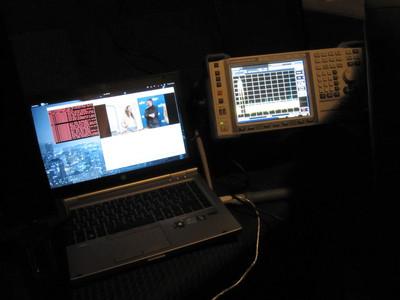 Measuring DVB-T spectrum and bit error rate.
