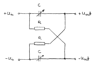 Balanced, variable phase shift circuit.