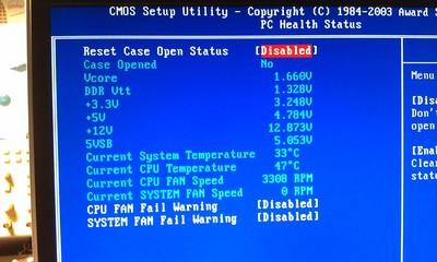 PC Health Status screen on GA 7VT600 motherboard.