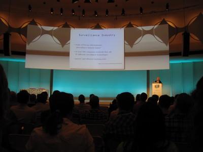 Constanze Kurz talking about surveillance industry.