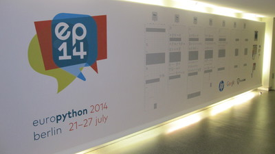 EuroPython 2014 schedule poster in the basement of the BCC.