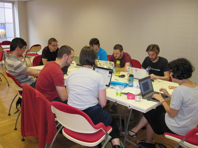 Open Contracting table at EuroPython 2014 sprints.