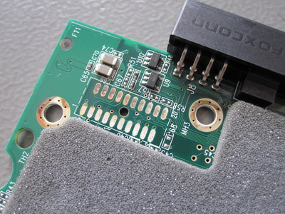 Corrosion of surface finish on the controller PCB.