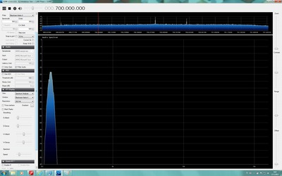 SDR# showing audio spectrum with 500 Hz filter enabled.