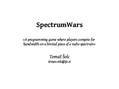 Title slide from the SpectrumWars talk.