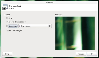 "xfce4-screenshooter with ""Share image"" selected."