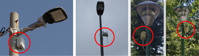 Different kinds of sensor nodes mounted on street lights.