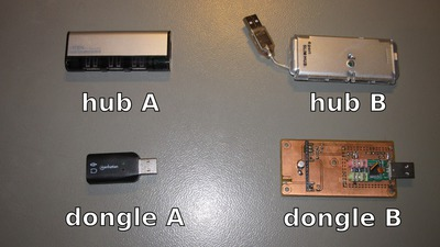 USB hubs and dongles used for noise measurements.