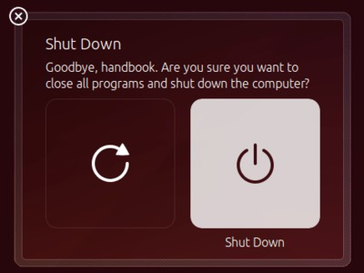 Screenshot of Ubuntu shutdown dialog.