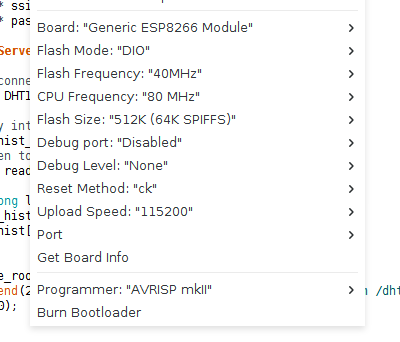 Arduino firmware upload settings for ESP8266 modules.