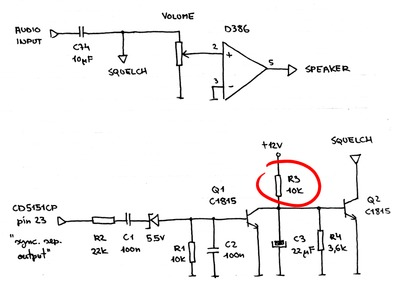 Audio amplifier and squelch circuit in UTV 6007