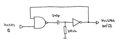 Schematic of the monostable multivibrator circuit.