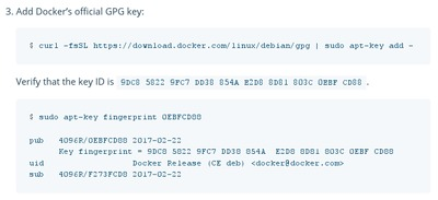 Screenshot of instructions for adding Docker GPG key.