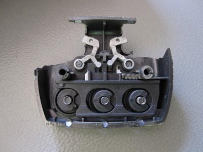 Inside luggage combination lock in unlocked position.