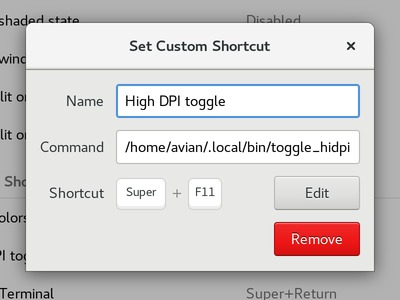 High DPI toggle shortcut in GNOME keyboard settings.