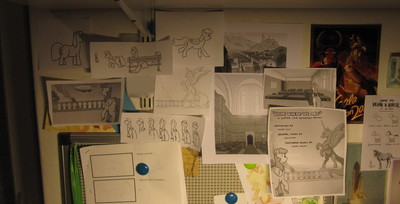Wall full of animation scraps.