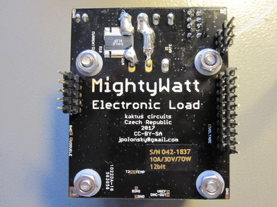 Bottom side of the MightyWatt electronic load PCB.