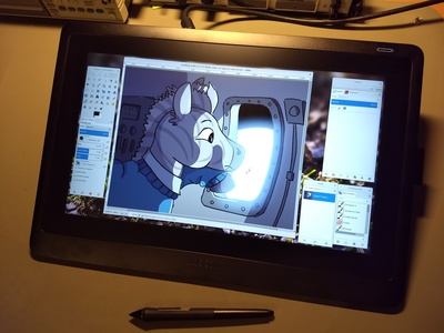 Wacom Cintiq 16 with GIMP running on it.