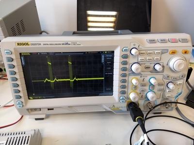 Rigol DS2072A oscilloscope.