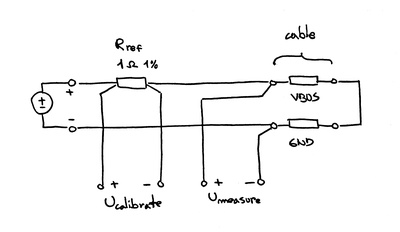 Simplified schematic of the USB cable tester.