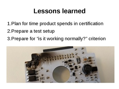 """Lessons learned"" slide from the certification seminar."
