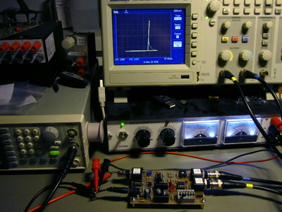 Curve tracer on the desk with other instruments.