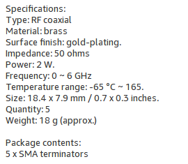 Specifications for 50 ohm SMA terminators.