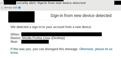 "A typical ""sign-in from a new device detected"" mail."