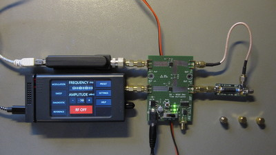 Assembled rtl-sdr vector measurement setup with Henrik's bridge.