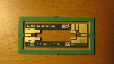 Bare printed circuit board for the RF bridge before assembly.