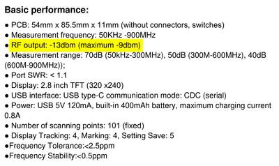 """""""Basic performance"""" section of the NanoVNA User Guide."""