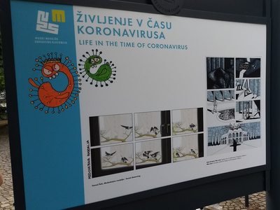 """Life in the time of coronavirus"" exhibition panel."
