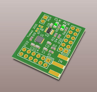 3D render of the HackRF clock converter circuit board.