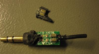 Circuit board inside the 3.5 mm plug handle, bottom side.