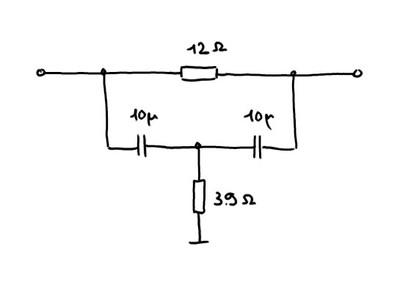 Schematic of the filter circuit embedded in the 3.5 mm plug.