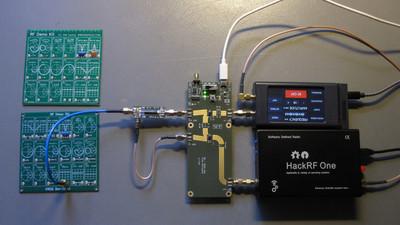 My measurement setup for characterizing the RF Demo Kits.